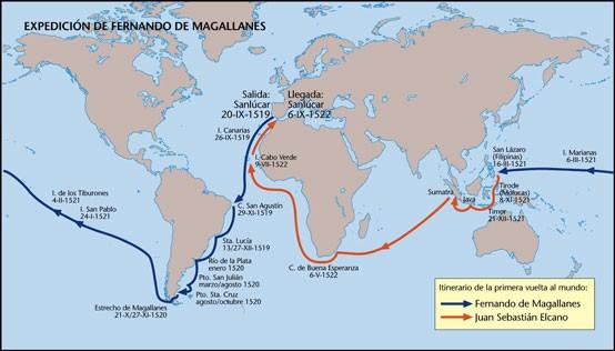 Ruta de la expedición. En azul el trayecto comandado por Magallanes. En rojo el trayecto comandado por Elcano.