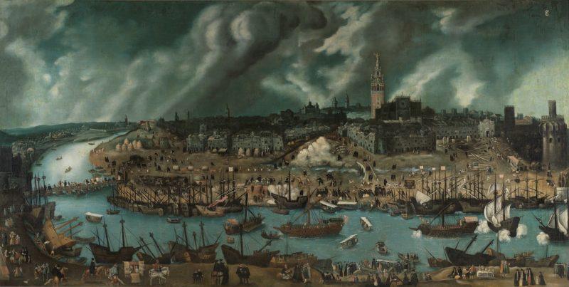 Sevilla y su puerto en un grabado del siglo XVI.Ruta La Sevilla de Magallanes y la primera vuelta al mundo.Fernando de Magallanes