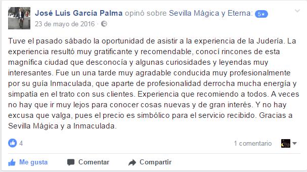 Opinión sobre Sevilla Mágica y Eterna. Opinión sobre La Judería Legendaria y Literaria de Sevilla Mágica y Eterna