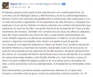 Opinión sobre Sevilla Mágica y Eterna. Opinión sobre La Judería Legendaria y Litetaria, y Mitología Clásica y Arte Romano de Sevilla Mágica y Eterna