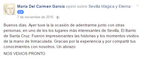 Opinión sobre Sevilla Mágica y Eterna. Opinión sobre La Judería Legendaria y Litetaria de Sevilla Mágica y Eterna.